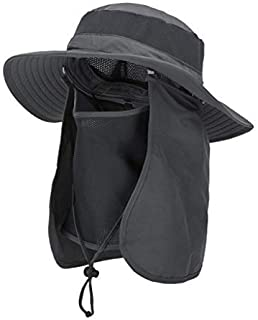 Outdoor Sun Hat UPF 50 Protection Boonie Waterproof Fishing Cap for Men & Women Face Cover Summer Removable Mesh Neck Face Flap Hat