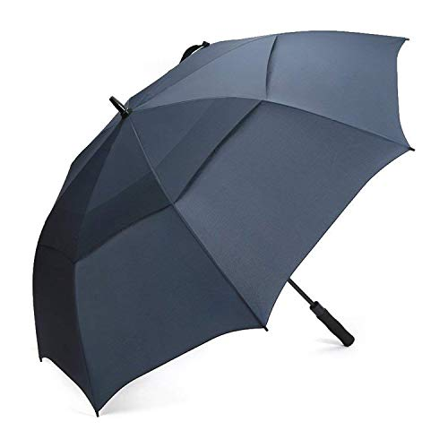 G4Free 68 Inch Automatic Open Golf Umbrella Double Canopy Extra Large Oversize Windproof Waterproof Stick Umbrellas(Navy Blue)