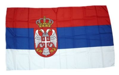 Fahne Stockflagge Serbien Wappen NEU 30 x 45 cm Flagge