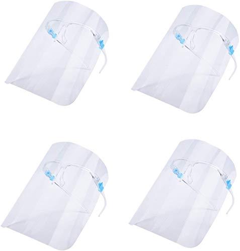 4 Visera de protección facial transparente antivaho para mujeres y hombres que se pueden limpiar, reemplazables y reutilizables (4 monturas de gafas + 4 viseras).