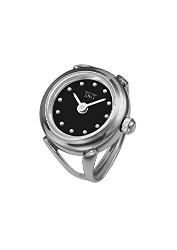 Davis - Womens Finger Ring Watch Sapphire Glass Adjustable (Steel/Black Dial)