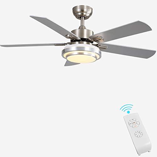 "Indoor Ceiling Fan Light Fixtures - FINXIN Remote LED 48 Brushed Nickel Ceiling Fans For Bedroom,Living Room,Dining Room Including Motor,Remote Switch (48"" 5-Blades)"