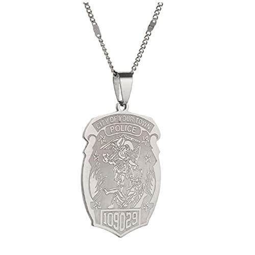 Insignia de policía personalizada de San Miguel con número de insignia de departamento Joyería de moda-Plateado