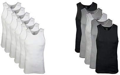 Gildan Men's A-Shirts 6 Pack, White, X-Large Men's A-Shirts 5 Pack, Grey/Black, X-Large