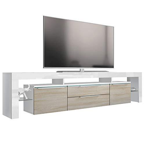 Vladon TV Board Lowboard Lima Nova V2, Korpus in Weiß matt/Front in Eiche sägerau