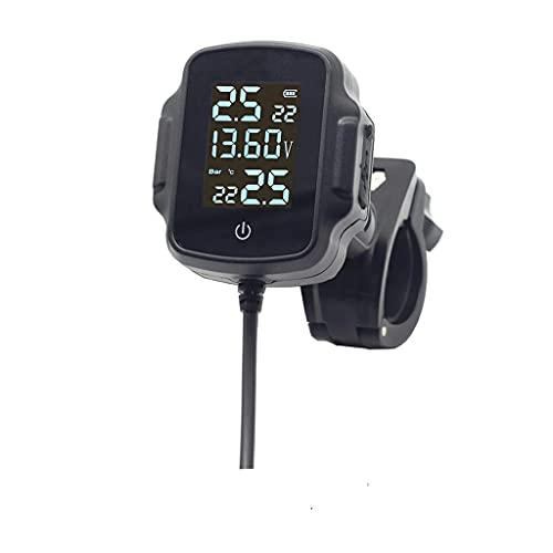 SLATIOM Motocicleta TPMS W/Carga RÁPIDA 3.0 Sistema de monitoreo de presión de neumáticos del Cargador USB Monitoreo del Sistema de presión Externa