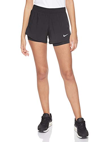 Nike Damen 10K 2 in 1 Shorts, Black/Black/Black/Wolf Grey, S