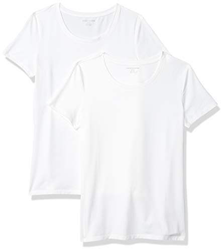 Amazon Essentials Damen-T-Shirt, klassisch, kurzärmlig, Rundhalsausschnitt, 2er-Pack, Weiß (White), Large