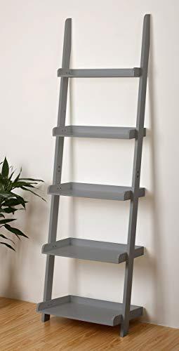"eHemco 5 Tier Leaning Ladder Wall Book Shelf in Grey 21-5/8""W X 70""H"