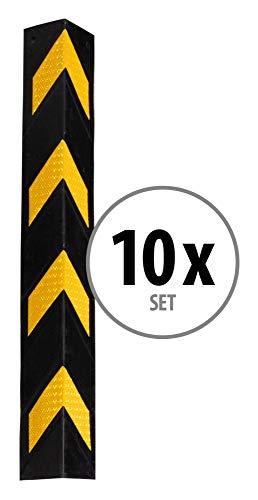 Stagecaptain KS-8010 - Set di 10 paraspigoli, in gomma flessibile, lunghezza: 78 cm, con catarifrangenti, colore nero/giallo