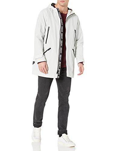 DKNY Men's Midlength Hooded Taslan Parka Jacket, Light Grey, Medium