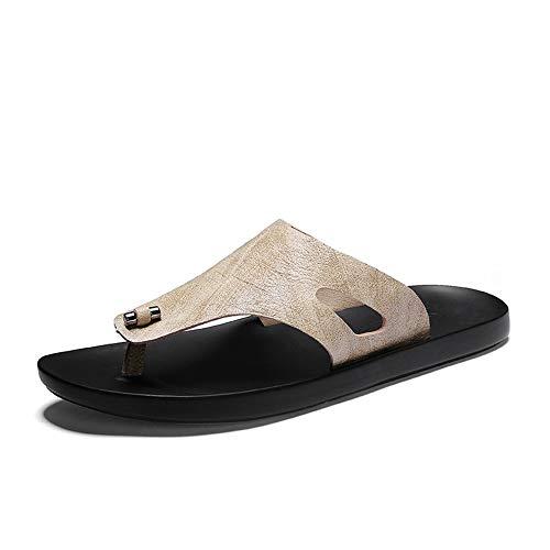 SUSHANCANGLONG Sandalia de sandalia atlética para hombre con flip-flop Comfort Casual Thong Sandalias de cuero de microfibra interior y al aire libre (Color : Sand colour, Size : 43 EU)