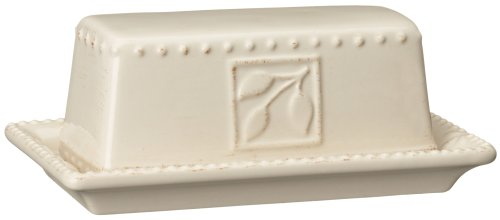 Signature Housewares Sorrento Collection Butter Dish, Ivory Antiqued Finish (0.25 Lb Butter Dish)