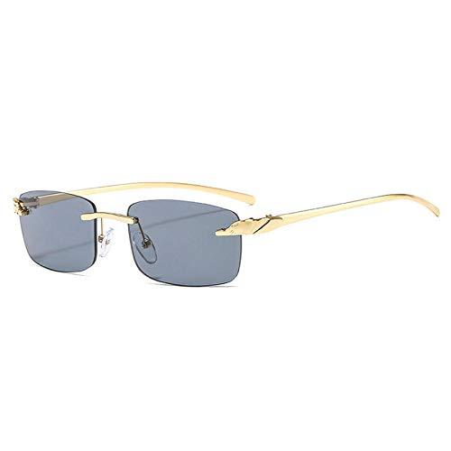 DLSM Gafas de Sol de rectángulo de rectángulo sin Montura Vintage para Montar a Caballo, Fiesta de Playa, Ciclismo-Gris Dorado
