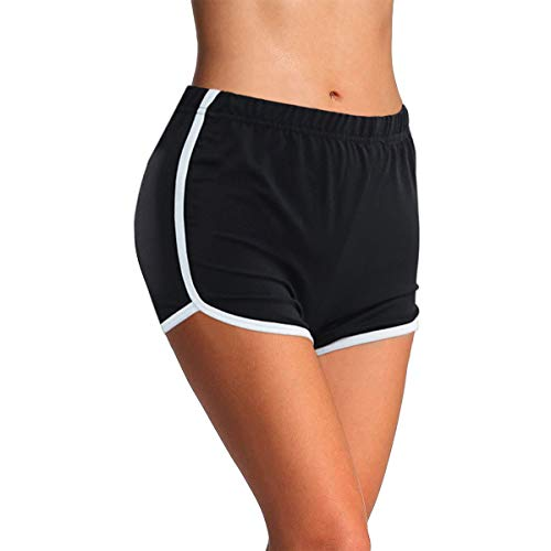 4How Damen Kurze Radlerhose Tanzshorts Sports Ballett Yoga Shorts Laufshorts Fitness Yoga Pants aus Baumwolle Schwarz Dolphin L