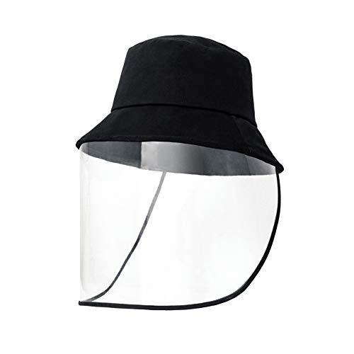 EXTSUD Cappello da Pescatori Antipolvere Unisex Nero Cappello Protettivo in Cotone Antivento con Protezione Visiera Trasparente per Viso Cappelli da Donna Uomo per Attività all'Aperto