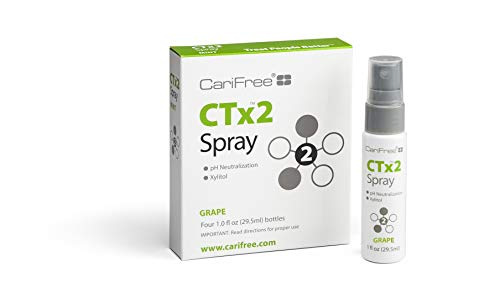 CariFree CTx2 Oral Moisturizer Spray for Dental Hygiene (Grape) | Non-Staining and Fluoride-Free | Freshens Breath and Moistens Mouth| Recommended by Dentists for Oral Care