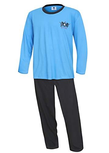 Herren Schlafanzug Pyjama lang Übergröße blau 100{cb92e9dc4022a28df1d833ec5c332f2acdb7358dc75ed8b7ad5a04a569014396} Baumwolle 3XL