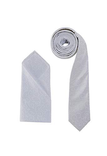Juego de pañuelo de corbata de boda de DressCode, color marfil, patrón de remolino blanco tejido