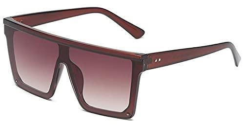 Moda Gafas De Sol Cuadradas De Gran Tamaño para Mujer, Hombre, Marca De Lujo, Gafas De Sol con Tapa Plana, Espejo, Gafas De Sol, Té Uv400