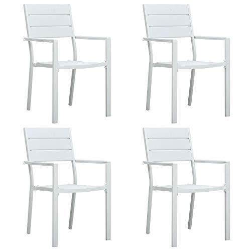 vidaXL 4X Gartenstuhl Terrassenstuhl Balkonstuhl Stuhl Gartensessel Gartenstühle Stühle Gartenmöbel Sessel Balkonstühle Weiß HDPE Holz-Optik