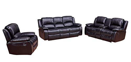 Betsy Furniture 3PC Bonded Leather Recliner Set Living Room Set, Sofa Loveseat Chair Pillow Top Backrest and Armrests 8018 (Black, Living Room Set 3+2+1)
