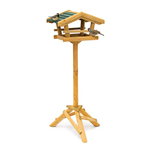 Relaxdays Casetta/Voliera per Uccelli con Supporto, per Giardino/Ambienti Esterni, Marrone, 43x37x100 cm