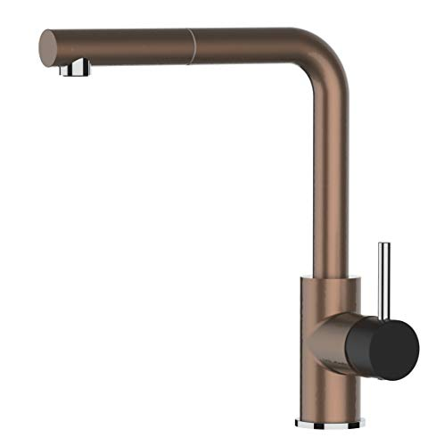 Kitchen Single-Lever Sink Mixer with extractable Shower and high Swivel spout 140° - Bronze and Black Black Friday Limited Edition