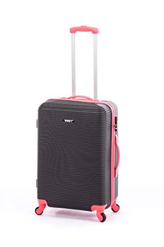 Ertha Travel Suitcase Cabin Trolley Cabin Hand Baggage, Ultra Light 4 Swivel Wheels 360 Cabin Suitcase Black Black/Red M