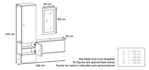 Vladon Wandgarderobe Carlton Set 4 | In Weiß matt / Paneel in Petrol Hochglanz | 156 x 193 x 35 cm