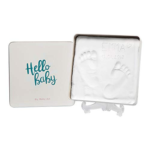 Baby Art Magic Box Scatola Quadrata In Metallo Con Kit Impronta Per Calco Di Mani E Piedi Del Neonato, Regalo Nascita O Bomboniera Battesimo, Essentials