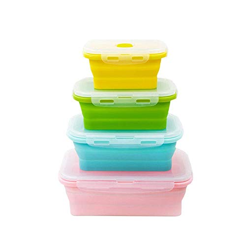 AOCTEK Collapsible Food Storage Containers - 4 Pack BPA Free Silicone Lunch Box Salad Bowl with Lids Insulated Food Containers for Kitchen or Kids - Microwave and Freezer Safe 4 mixed colors