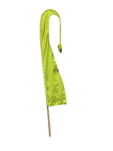 Asiastyle Balifahne | Farbe: jadegrün | 120 cm lang | MIT BAMBUSSTANGE | aus echtem Satin | Originale Umbul Fahne