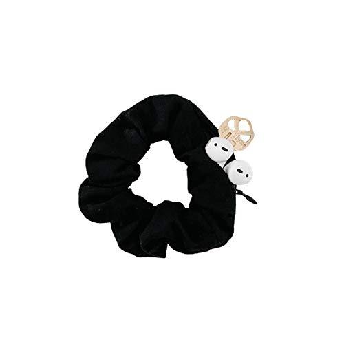 BSEKT Zipper Scrunchies, Pocket Scrunchie, SECRET & HIDDEN, Velvet Hair Ties Bracelet, Compatible with Apple AirPods 2 & 1, Key Money Chapstick Storage Bag, Elastics Hair Band (black)
