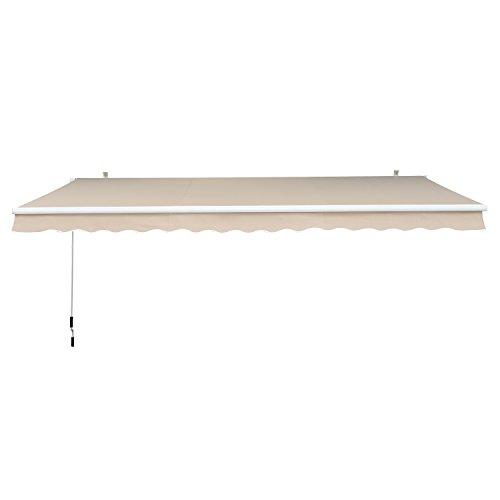 Outsunny Toldo Manual Plegable de Aluminio Ángulo Ajustable Manivela para Exterior Balcón Jardín Terraza 2.95x2.5m Crema