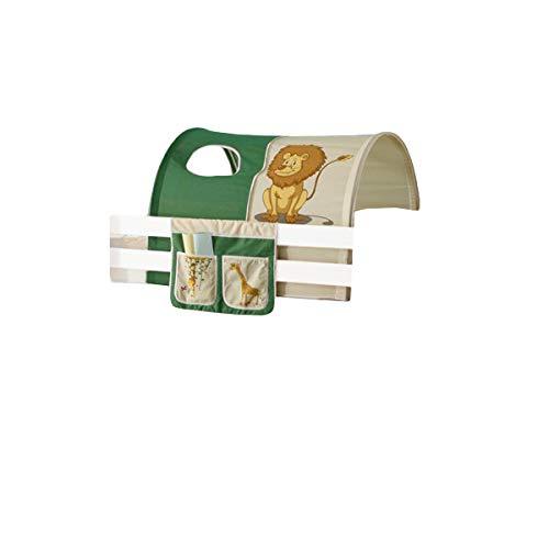 Jugendmöbel24.de Tunnel + Betttasche Safari 100% Baumwolle Kinderzimmer Etagenbett Kinderbett Stofftasche Baldachin Dach Bettdach Himmel für Hochbett Spielbett