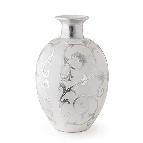 Hervit Vase Amphore aus Kunstharz, Durchmesser 42 x 65 cm, Weiß
