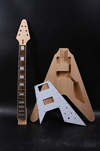 1 juego de guitarra sin terminar cuello de guitarra cuerpo 22 trastes 25.8 pulgadas bloque de incrustación juego en Flying V