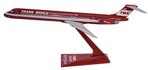 TWA Wings of Pride MD-80 Airplane Miniature Model Plastic Snap Fit 1:200 Part#...