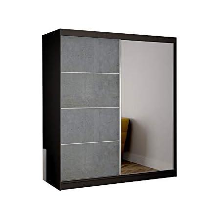 Armoire de Chambre avec 2 Portes coulissantes 1 Porte avec Miroir  Penderie (Tringle) avec étagères (LxHxP): 183x218x61 Beton (Noir)