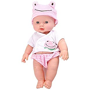Aolvo Talking Doll Lovely Realistic Reborn Dolls Soft Silicone Vinyl Cute Lifelike Baby Born Doll With Clothes Interactive Toy Gift Kids Playmate Growth Partner, Pink/Green/Yellow
