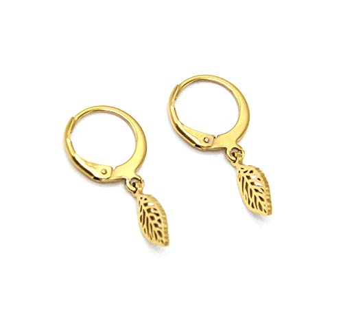 BO1873 – Pendientes de mini aros con hoja de acero dorado