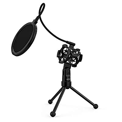 ammoon Microphone Stand Mini Desktop Microphone Tripod Stand with Shock Mount Mic Holder Pop Filter for Studio Recording Online Broadcasting Chatting Singing Meeting