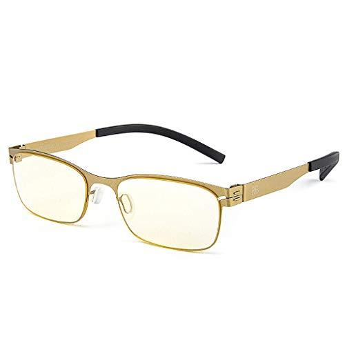WEHQ Gafas de Lectura Lectores con Bloqueo de luz Azul para Mujeres y Hombres, Gafas de Lectura, visión Clara, antirreflejos, UV, Reduce la Fatiga Visual, Comodidad, anteojos Ligeros, Dorado,