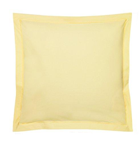 Blanc des Vosges Uni 57 Fils Taie, Coton, Jaune, 65x65 cm