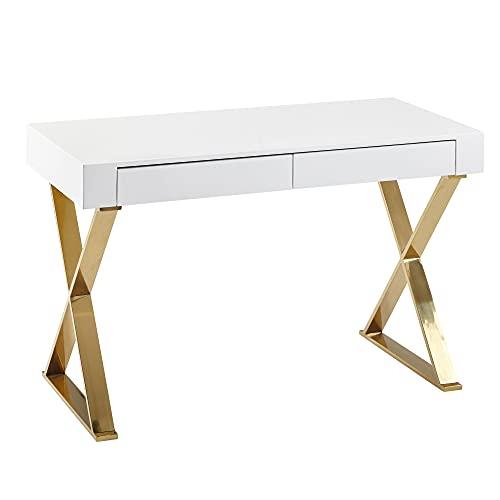 FineBuy Schreibtisch 118x76x57 cm Holz Hochglanz Weiß Metallbeine Golden | Design Computertisch PC-Tisch Bürotisch Modern | Konsolentisch Schubladen