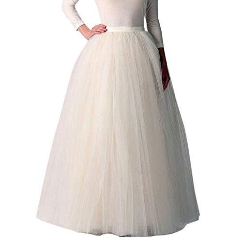 Xmiral Damen Tutu Rock Knöchel-Länge Tüllröcke Einfarbig Unterrock 1950er Hohe Taille Petticoat(Weiß,One Size)
