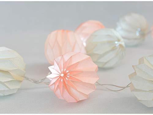 ELUME - Guirnalda luminosa interior Nomade I 10 origami blanco y rosa LED blanco cálido I longitud de 2m50 I alimentación USB clase IP20 I decoración dormitorio salón casa – LUME