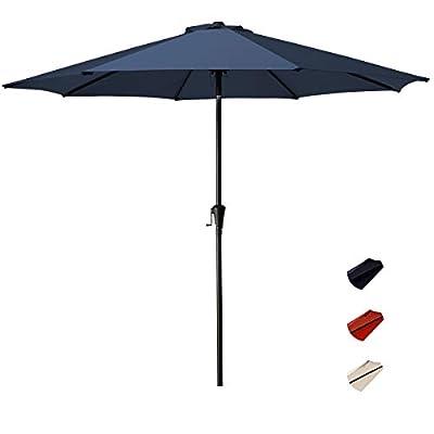 KITADIN Patio Umbrella Outdoor Market Table Umbrellas with Push Button Tilt and Crank Lift,8 Ribs (9 Ft, Navy)