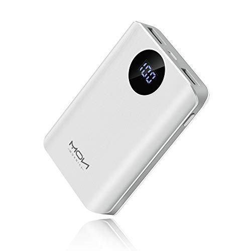 MOXNICE Powerbank 10000mAh Power Bank, Das Kleinere und Leichtere Externer Akku mit 2 USB-Ausgänge für iPhone, iPad, Samsung, Huawei und Viele Mehr (Weiß)